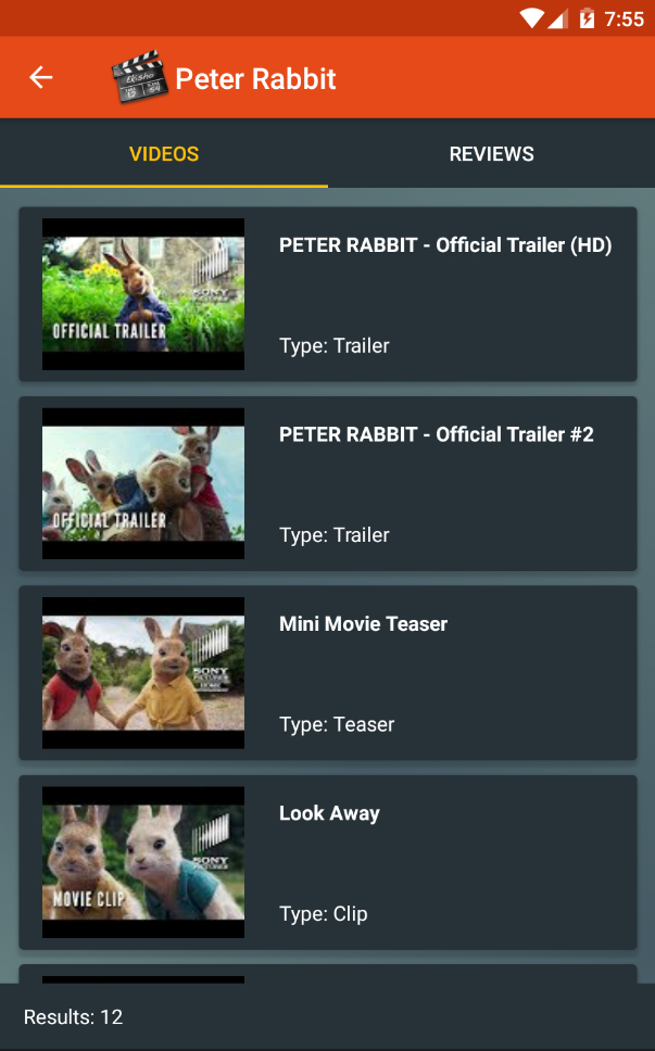 Popular Movies screen showing a list of video trailers
